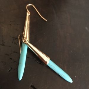 Jewelry - Turquoise and Gold Dangle Earrings